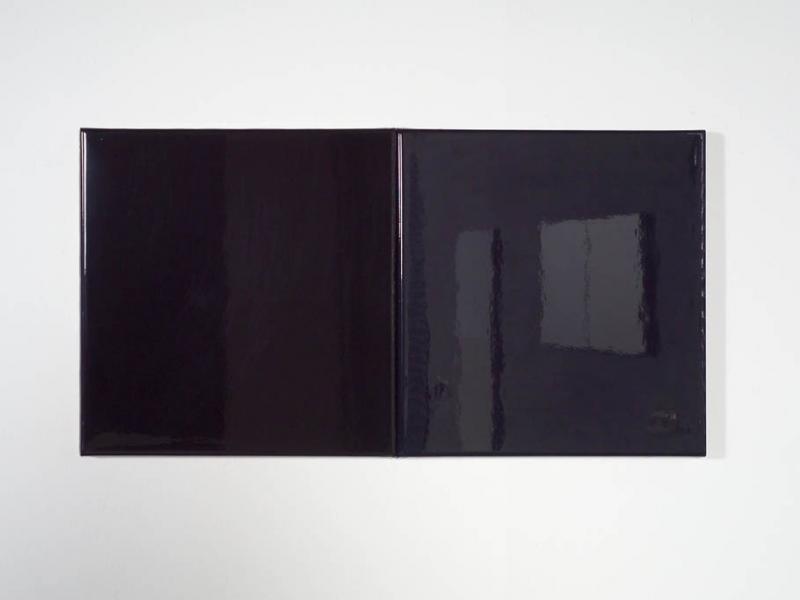 lak op aluminium 2x 80x80 zwart / blauw hoogglans
