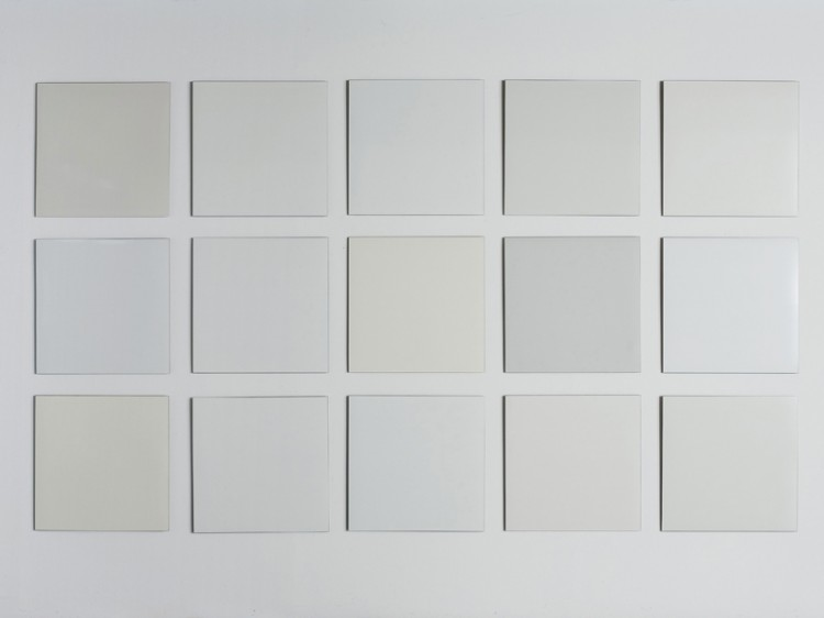 "15 Meier whites, enamel on steelplate, 15 x 60 x60 after Richard Meier ""30 colors"" (color palette of whites)"